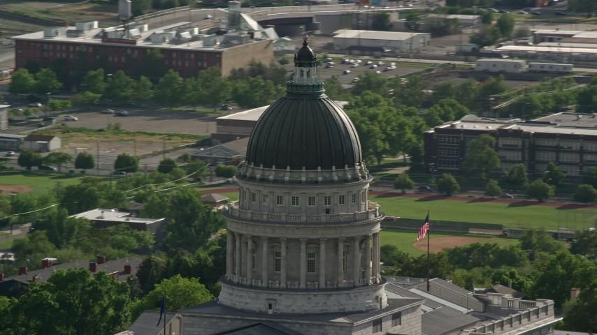 Orbiting the Utah State Capitol dome, Capitol Hill, Salt Lake City, Utah Aerial Stock Footage | AX129_021