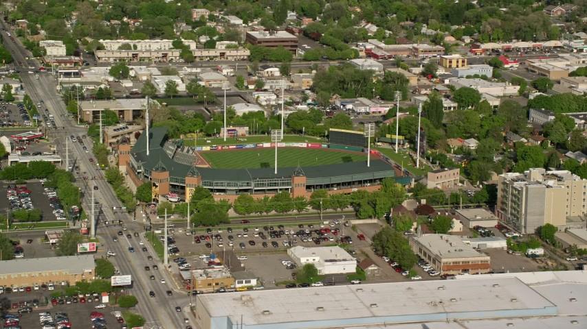 6K stock footage aerial video of Spring Mobile Ballpark during a baseball game, Salt Lake City, Utah Aerial Stock Footage | AX129_026