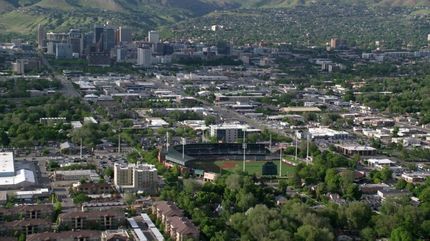 Temple Street, Main Street, Spring Mobile Ballpark, Downtown Salt Lake City, Utah Aerial Stock Footage | AX129_029