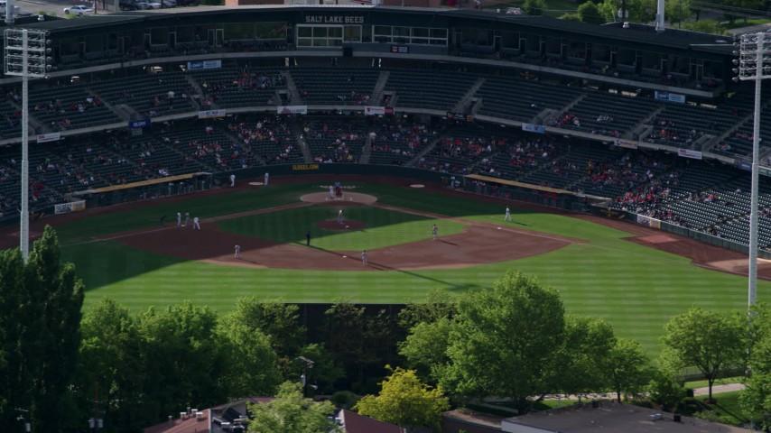 6K stock footage video of orbiting Spring Mobile Ballpark, Salt Lake City, Utah Aerial Stock Footage | AX129_030