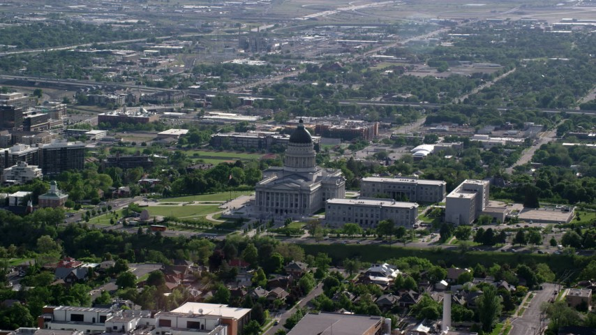 6K stock footage aerial video of flying by the Utah State Capitol and grounds on Capitol Hill, Salt Lake City, Utah Aerial Stock Footage | AX129_037
