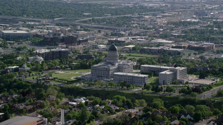 6K stock footage aerial video of the Utah State Capitol, Capitol Hill in Salt Lake City, Utah Aerial Stock Footage | AX129_038