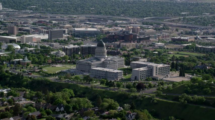 Utah State Capitol, Temple Square, Downtown buildings, Salt Lake City, Utah Aerial Stock Footage | AX129_039