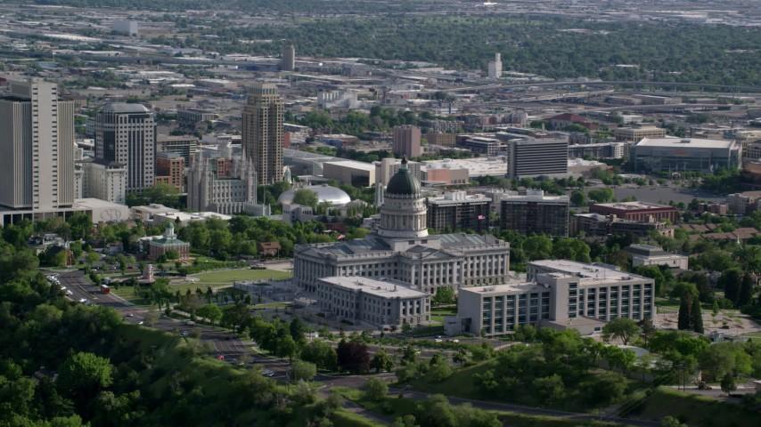 Utah State Capitol, Temple Square, Downtown Salt Lake City, Utah Aerial Stock Footage | AX129_040