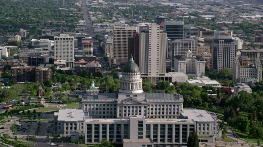 6K stock footage aerial video of orbiting Utah State Capitol, Temple Square and Downtown Salt Lake City, Utah Aerial Stock Footage | AX129_041