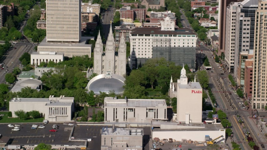 6K stock footage aerial video of circling Salt Lake Temple, Mormon Tabernacle,  Downtown Salt Lake City, Utah Aerial Stock Footage | AX129_045