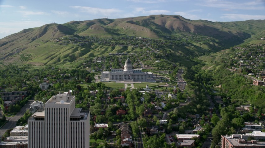 6K stock footage aerial video approach Utah State Capitol on Capitol Hill, Salt Lake City, Utah Aerial Stock Footage | AX129_055
