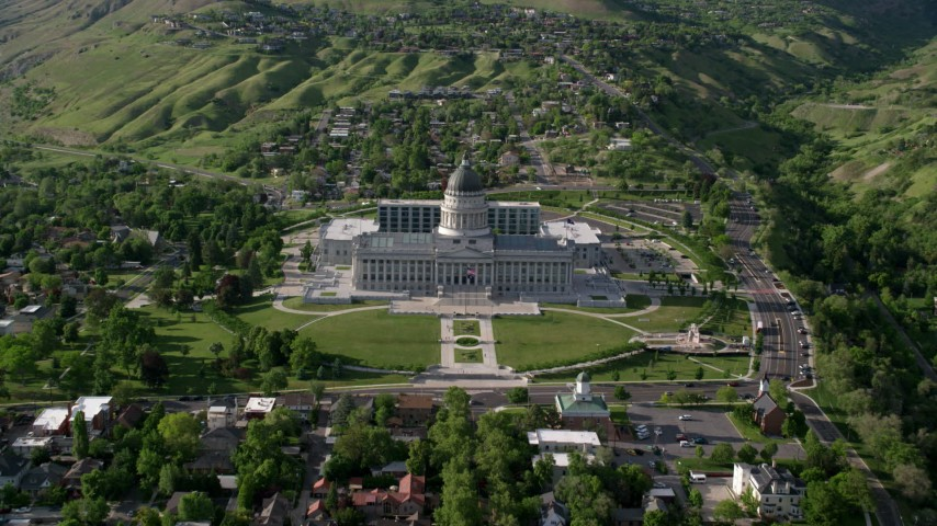 6K stock footage aerial video of approaching Utah State Capitol, tilt to grounds, Salt Lake City, Utah Aerial Stock Footage | AX129_056