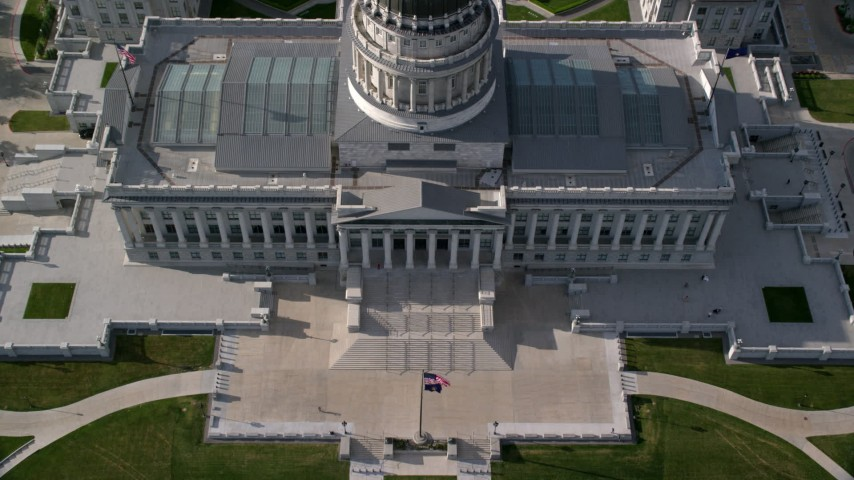 6K stock footage aerial video of approaching Utah State Capitol, tilt to bird's eye view, Salt Lake City, Utah Aerial Stock Footage | AX129_057