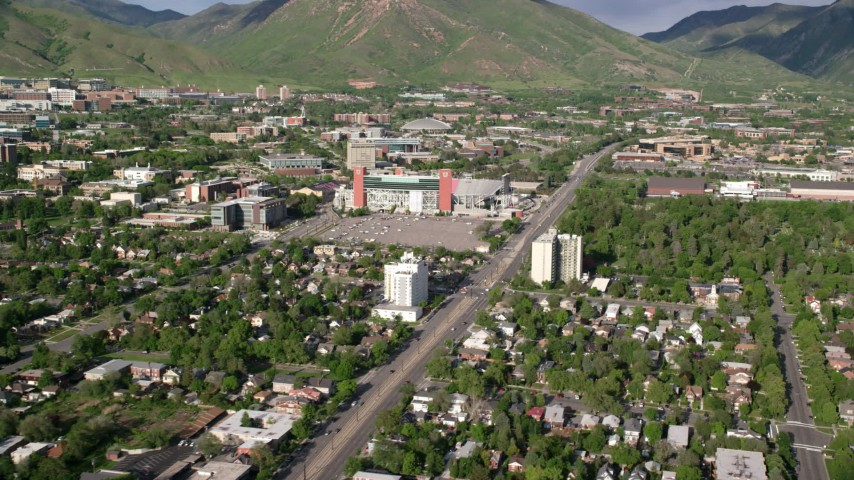 6K stock footage aerial video of flying by Rice-Eccles Stadium at University of Utah, Salt Lake City, Utah Aerial Stock Footage | AX129_064