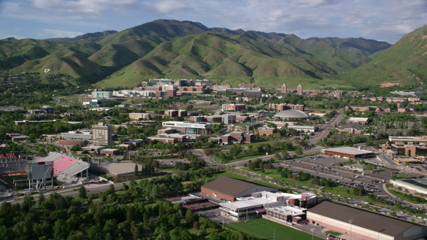 Flying by the University of Utah,  Salt Lake City, Utah Aerial Stock Footage | AX129_066