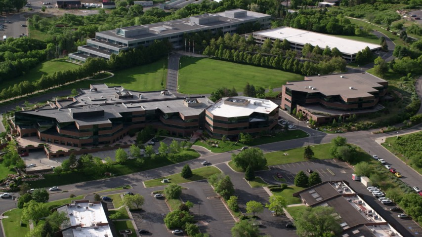 6K stock footage aerial video approach University of Utah office buildings, Salt Lake City, Utah Aerial Stock Footage | AX129_071
