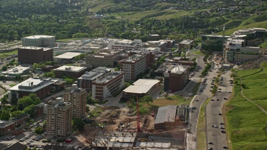 6K stock footage aerial video of flying by University of Utah Hospital buildings, Salt Lake City, Utah Aerial Stock Footage | AX129_072