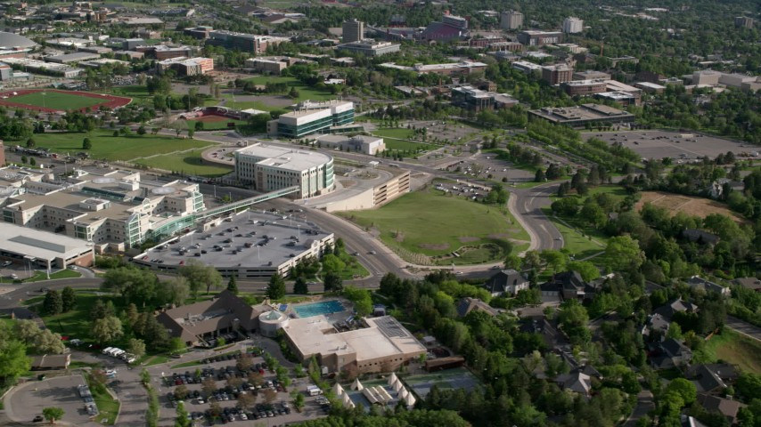 Flying by the University of Utah Hospital buildings, Salt Lake City, Utah Aerial Stock Footage | AX129_075