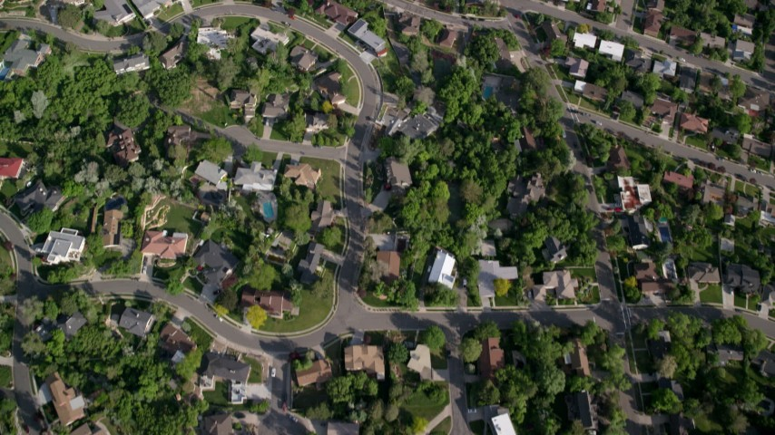 6K stock footage aerial video of bird's eye view of suburban neighborhood, Salt Lake City, Utah Aerial Stock Footage | AX129_084