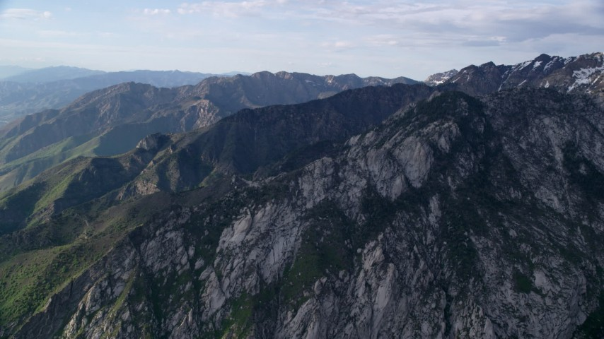 6K stock footage aerial video of approaching mountain ridges, Wasatch Range, Utah Aerial Stock Footage | AX129_127