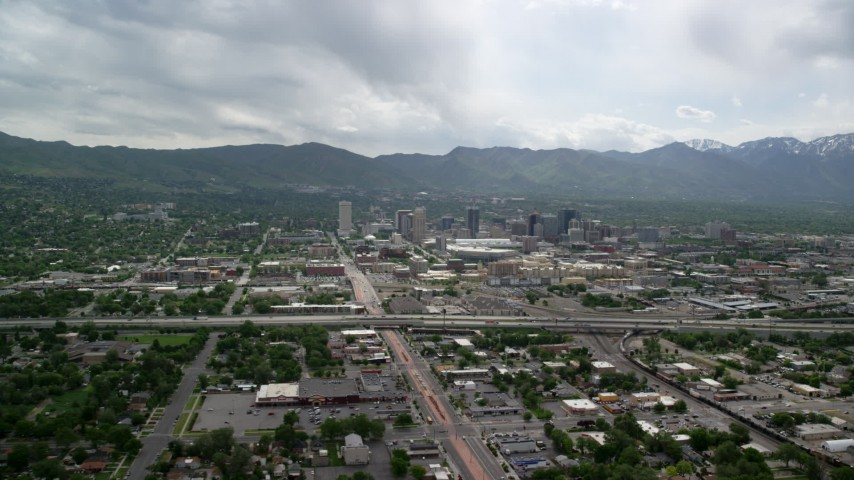 Approaching Downtown, Interstate 15, Salt Lake City, Utah Aerial Stock Footage | AX130_003