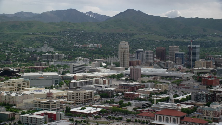 6K stock footage aerial video of Downtown Salt Lake City and the Utah State Capitol Aerial Stock Footage | AX130_006