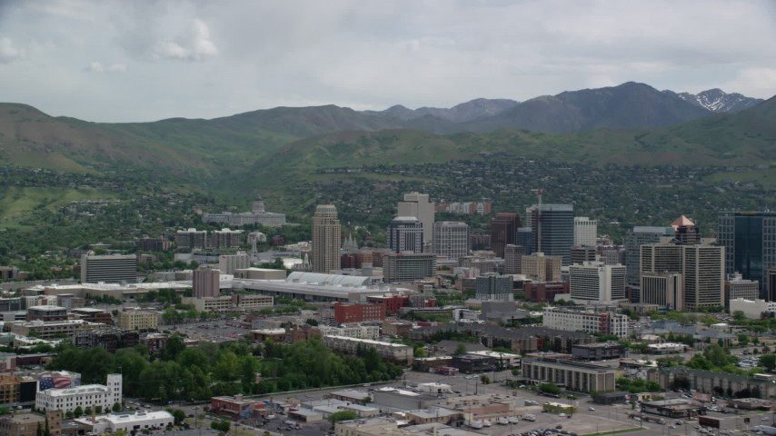 6K stock footage aerial video of flying by Downtown Salt Lake City, Utah State Capitol Aerial Stock Footage | AX130_007