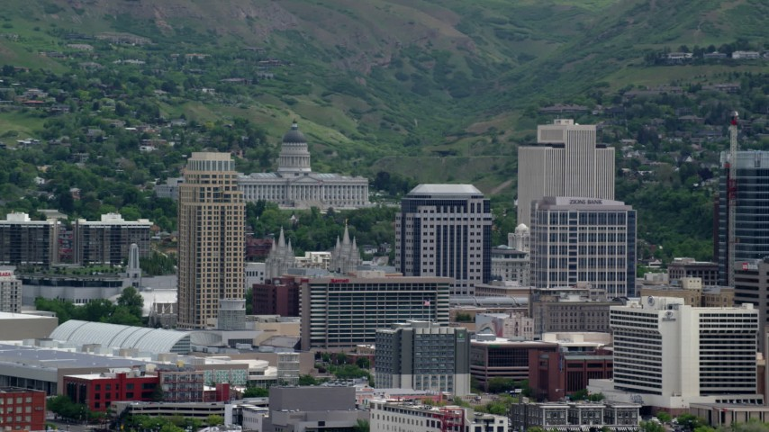 6K stock footage aerial video of Utah State Capitol on Capitol Hill and Downtown Salt Lake City, Utah Aerial Stock Footage | AX130_008