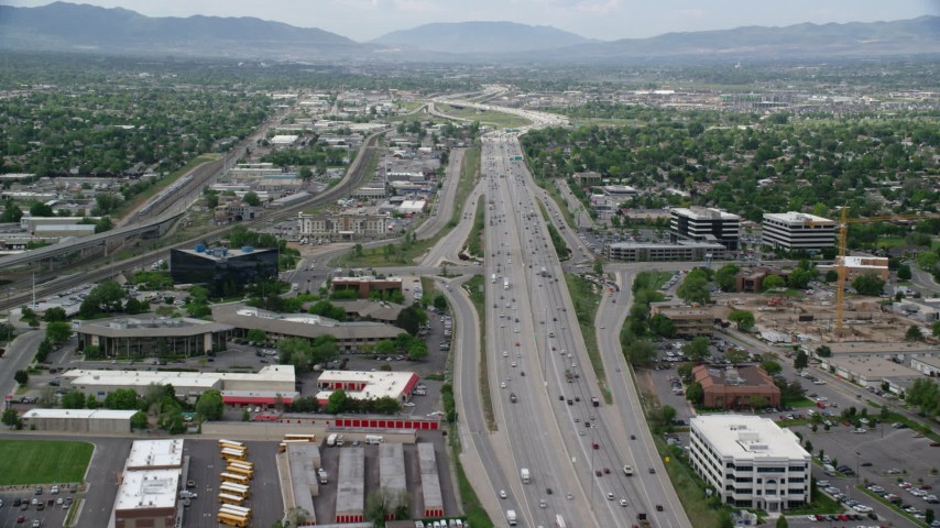 6K stock footage aerial video of flying over Interstate 15 with light traffic, Salt Lake City, Utah Aerial Stock Footage | AX130_017