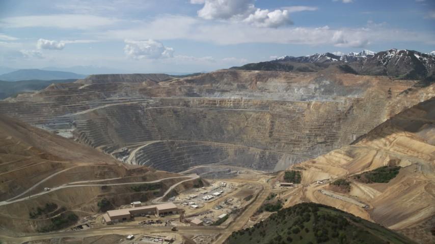 6K stock footage aerial video orbit Bingham Canyon Mine (Kennecott Copper Mine), Utah Aerial Stock Footage   AX130_038