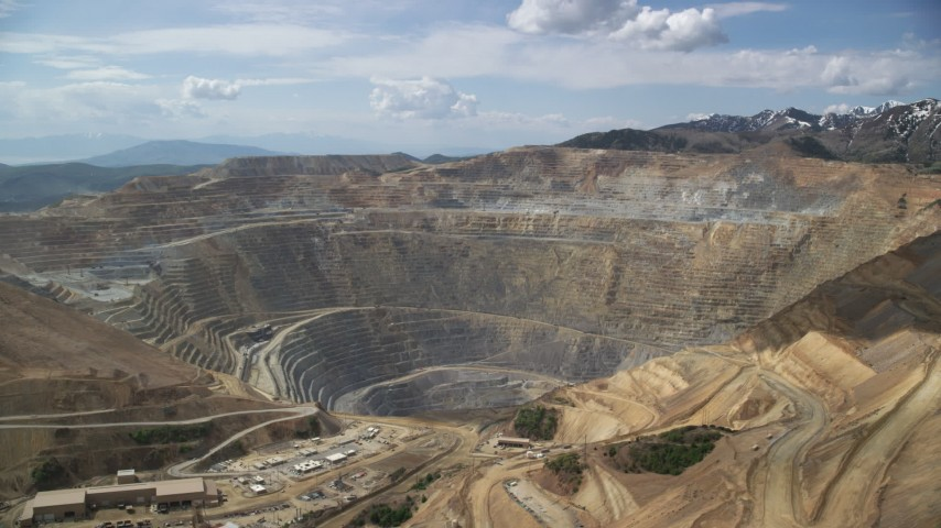 6K stock footage aerial video of circling Bingham Canyon Mine (Kennecott Copper Mine), Utah Aerial Stock Footage | AX130_039