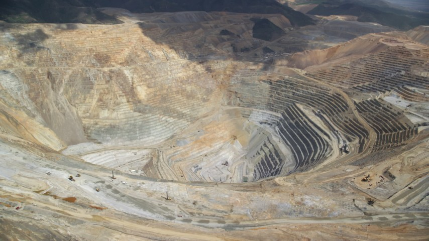 6K stock footage aerial video of a view of the Bingham Canyon Mine (Kennecott Copper Mine), Utah Aerial Stock Footage | AX130_051