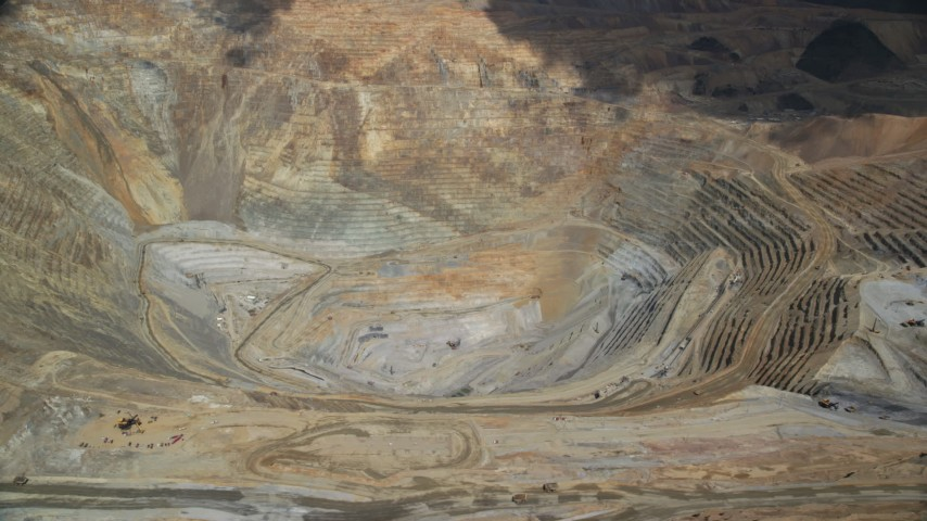 6K stock footage aerial video of a view of the bottom of Bingham Canyon Mine (Kennecott Copper Mine), Utah Aerial Stock Footage   AX130_053