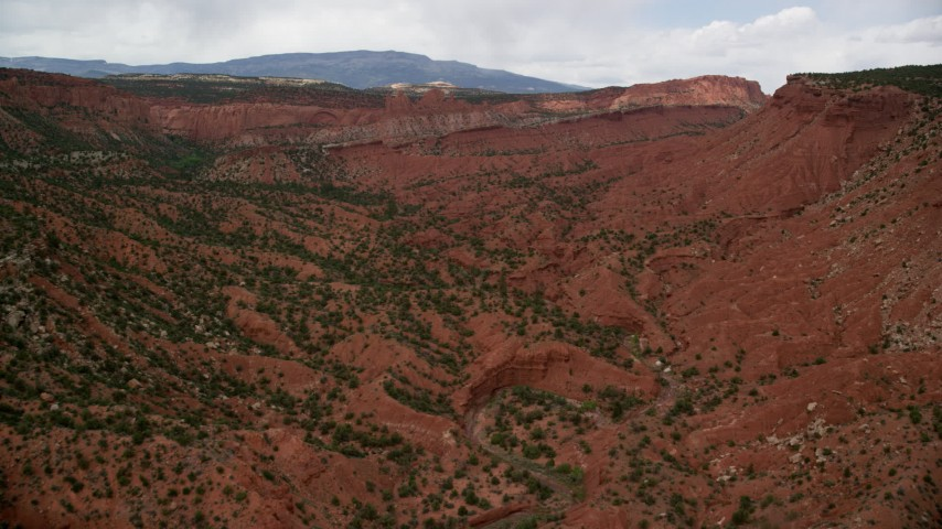 6K stock footage aerial video of a wide canyon with desert vegetation, Capitol Reef National Park, Utah Aerial Stock Footage AX130_332 | Axiom Images