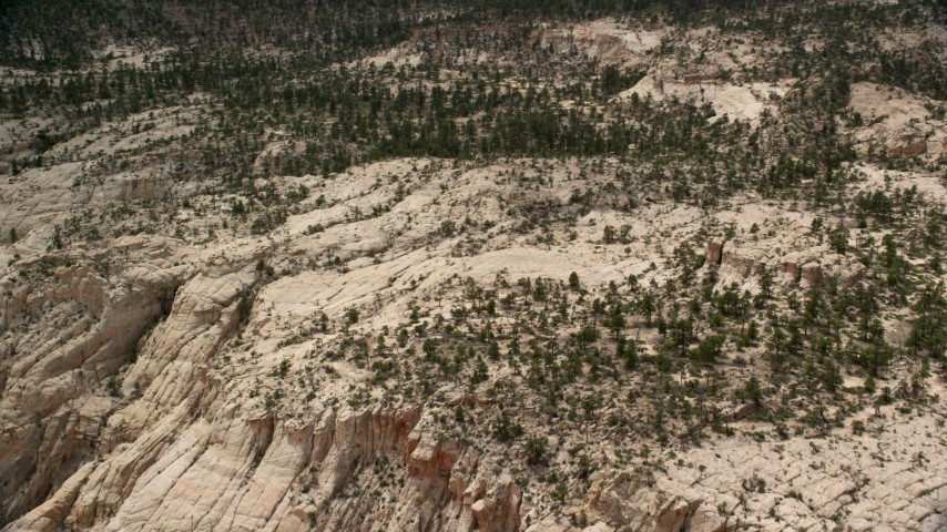 Approaching rocky hills, desert vegetation, trees, Grand Staircase-Escalante National Monument, Utah Aerial Stock Footage | AX130_387