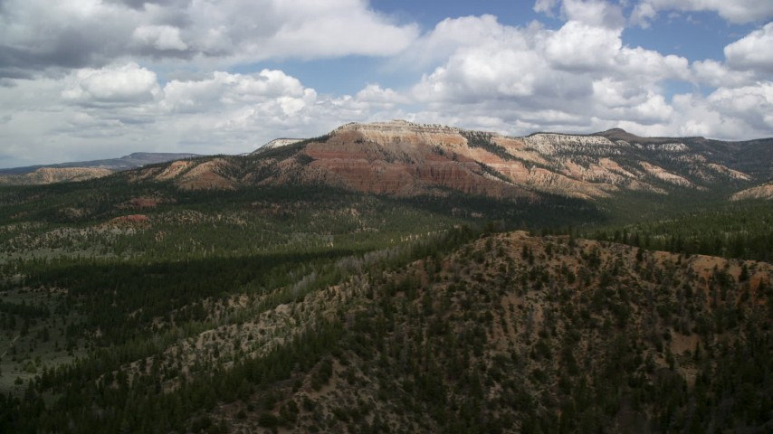 Flying by a mesa, desert vegetation and trees in the foreground, Barney Top Mesa, Utah Aerial Stock Footage | AX130_413