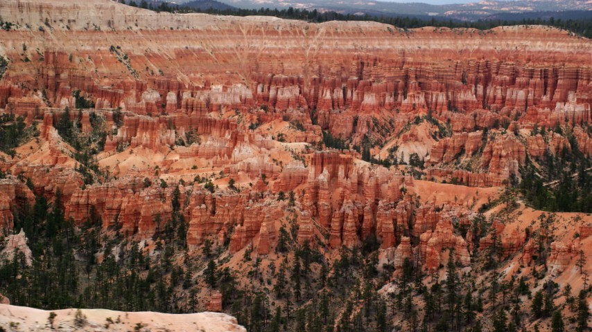 Flying by hoodoos and buttes, Bryce Canyon National Park, Utah Aerial Stock Footage | AX130_432