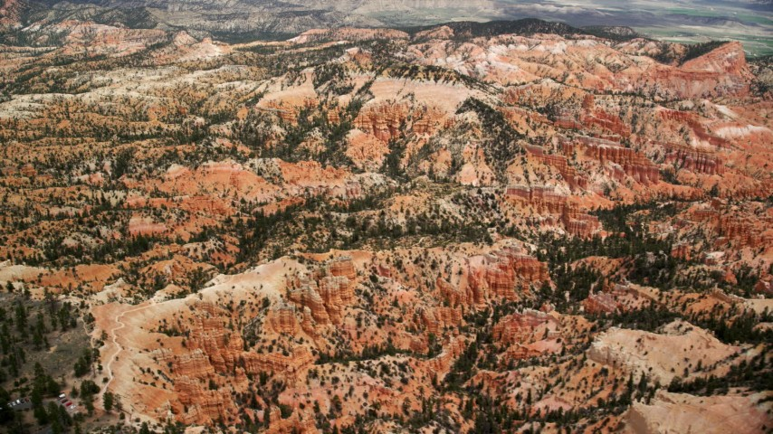 Flying by groups of hoodoos, buttes, trees and vegetation, Bryce Canyon National Park, Utah Aerial Stock Footage | AX130_442