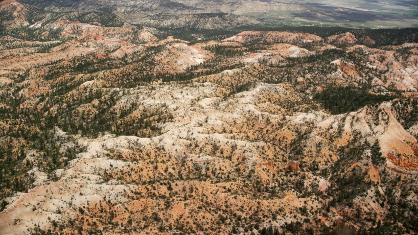 6K stock footage aerial video of flying over hills with trees and vegetation, Bryce Canyon National Park, Utah Aerial Stock Footage | AX130_444