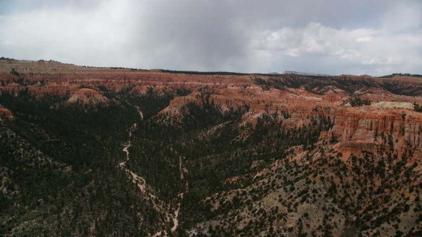 Flying by wide canyon with trees, surrounded by hoodoos, buttes, flying by a wide canyon with trees, surrounded by buttes and hoodoos, with a large mesa in background; Bryce Canyon National Park, Utah Aerial Stock Footage | AX130_454