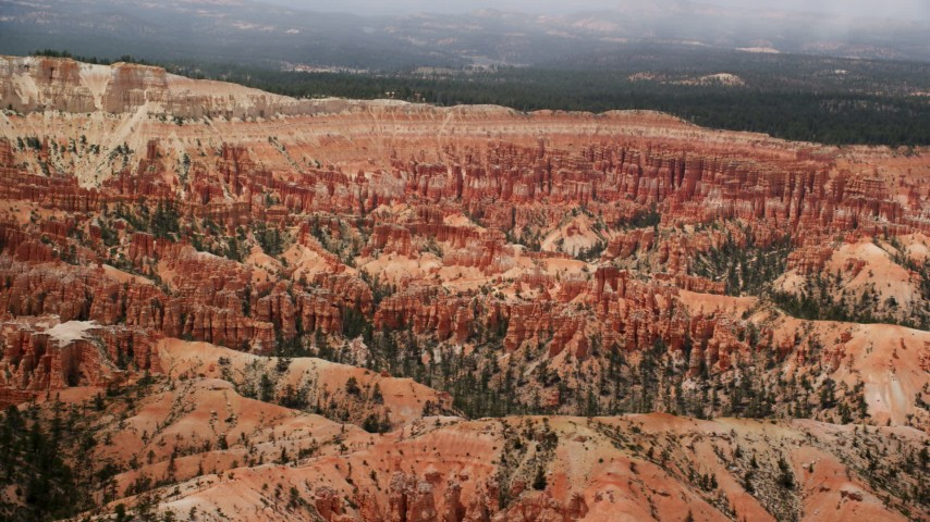 6K stock footage aerial video of groups of hoodoos and buttes at Bryce Canyon National Park, Utah Aerial Stock Footage | AX130_474
