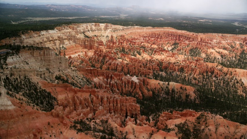 6K stock footage aerial video of approaching hoodoos and buttes, Bryce Canyon National Park, Utah Aerial Stock Footage   AX130_476