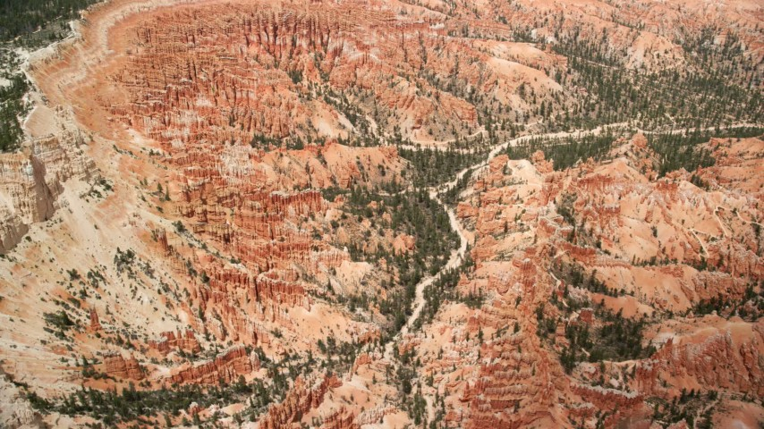 Orbiting groups of hoodoos and buttes, Bryce Canyon National Park, Utah Aerial Stock Footage | AX130_480