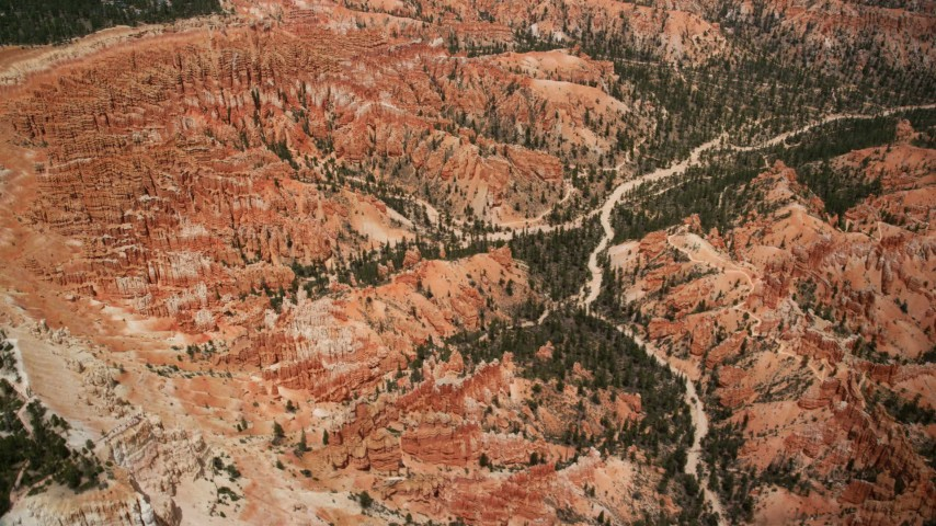 Orbiting buttes and groups of hoodoos, Bryce Canyon National Park, Utah Aerial Stock Footage | AX130_481