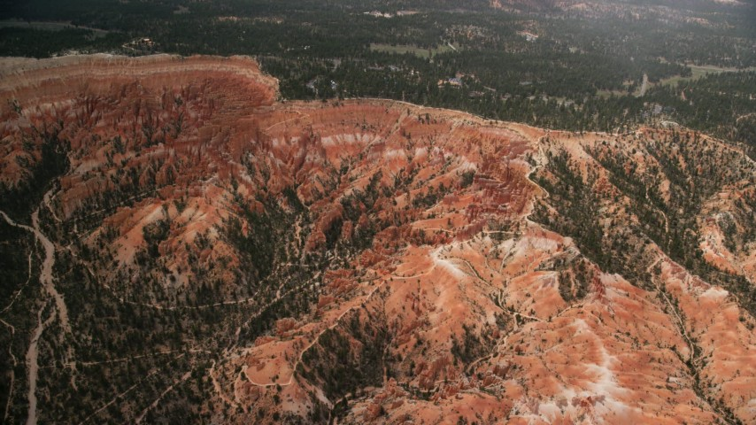 Approaching hoodoos and buttes, Bryce Canyon National Park, Utah Aerial Stock Footage | AX130_486