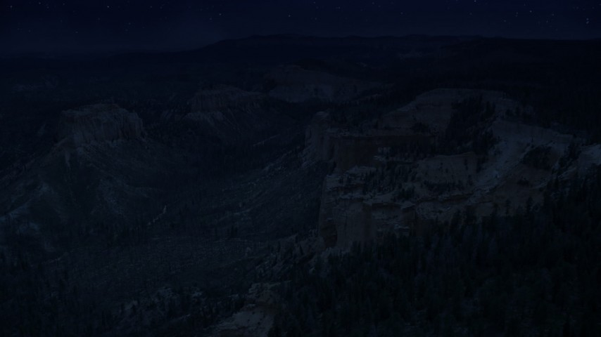 4K day for night color corrected aerial footage approach cliff near Swamp/Mud Canyon Buttes, Bryce Canyon National Park, Utah Aerial Stock Footage | AX131_013_DFN
