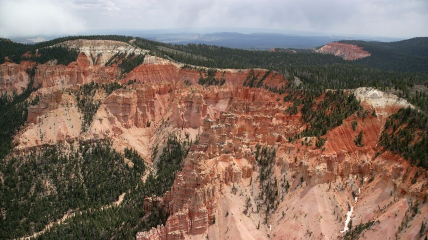 Approaching hoodoos, Pink Cliffs, Bryce Canyon National Park, Utah Aerial Stock Footage | AX131_028