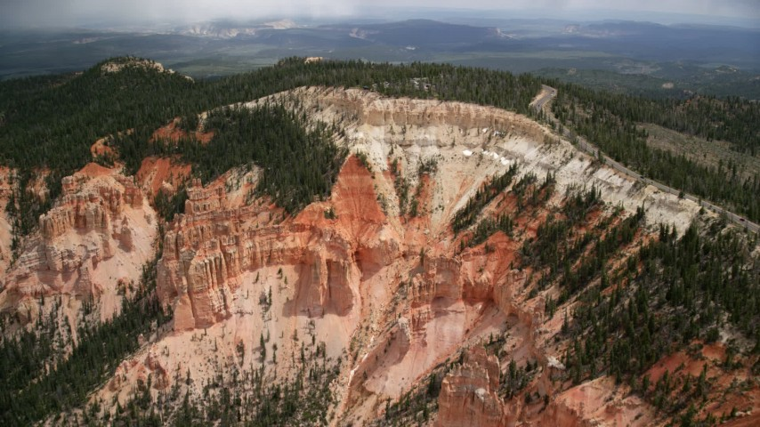 6K stock footage aerial video of approaching Rainbow Point, Bryce Canyon National Park, Utah Aerial Stock Footage | AX131_030