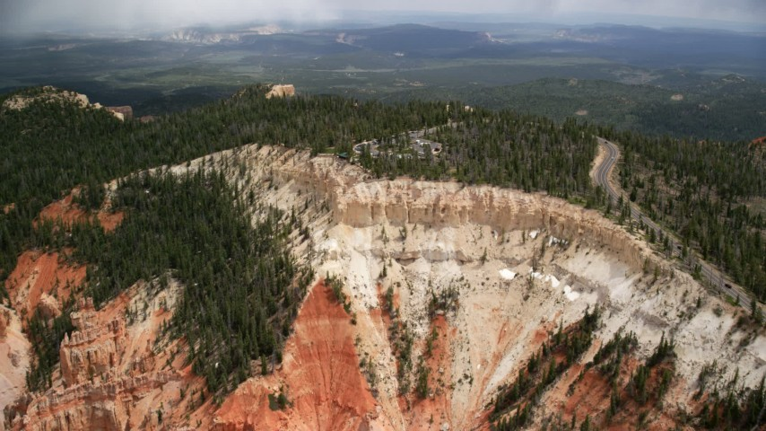 6K stock footage aerial video of flying toward Rainbow Point, Bryce Canyon National Park, Utah Aerial Stock Footage | AX131_031