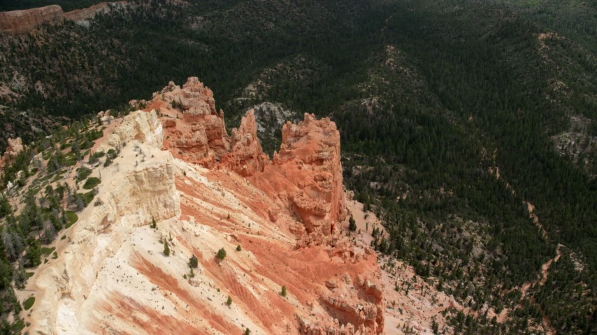 6K stock footage aerial video tilt to bird's eye view of rock formations, Pink Cliffs, Bryce Canyon National Park, Utah Aerial Stock Footage | AX131_033
