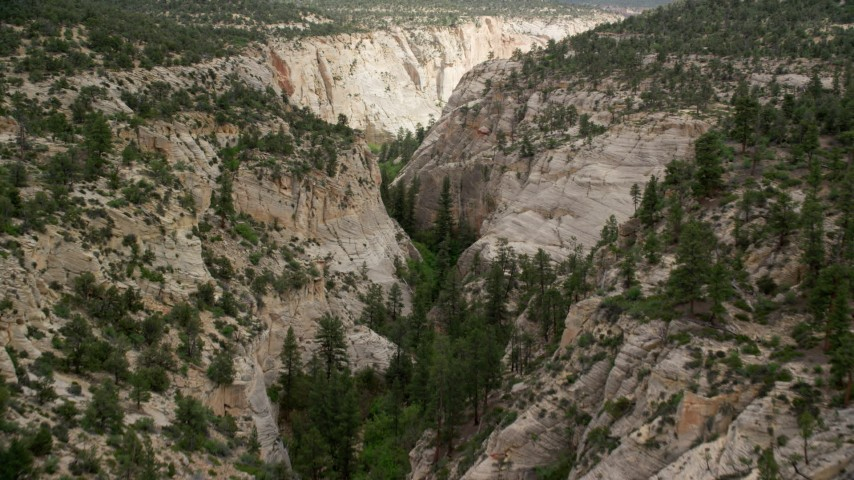 Flying over narrow canyon, Grand Staircase-Escalante National Monument, Utah Aerial Stock Footage AX131_046