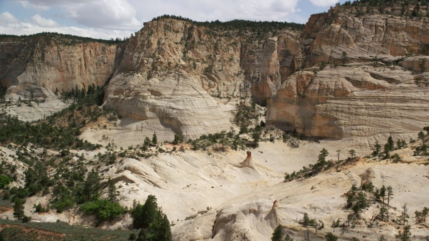 Approaching a rock formation, Grand Staircase-Escalante National Monument, Utah Aerial Stock Footage | AX131_052