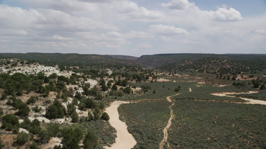 Fly over hills, trees, Grand Staircase-Escalante National Monument, Utah Aerial Stock Footage | AX131_066