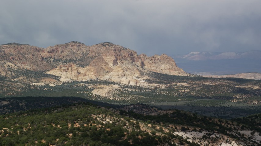 Flying by rugged mountains, Grand Staircase-Escalante National Monument, Utah Aerial Stock Footage | AX131_070